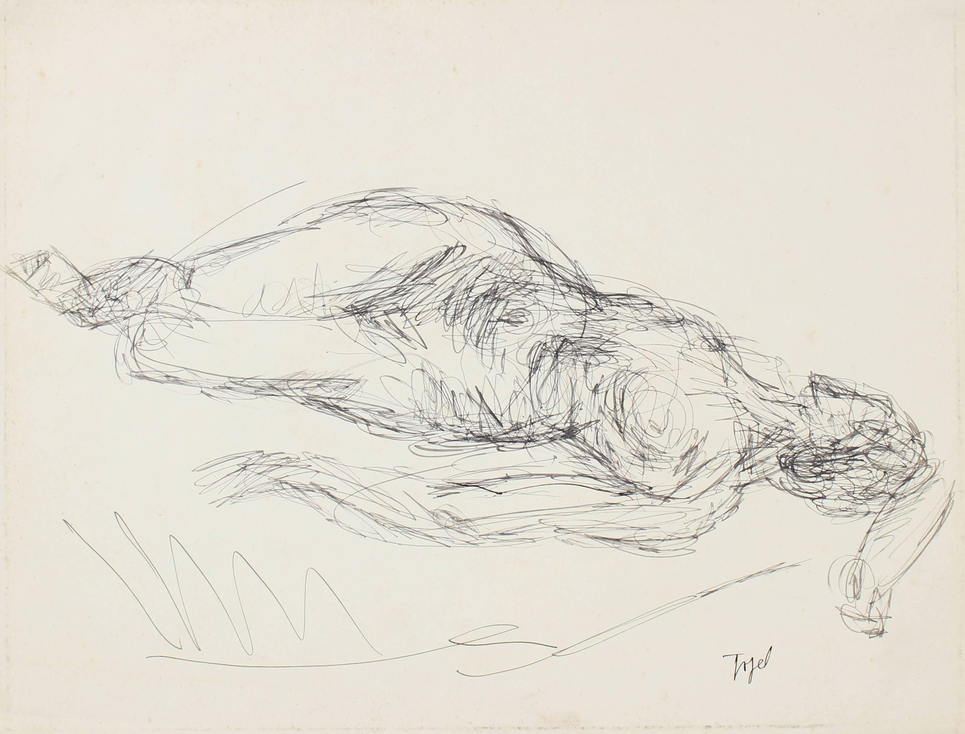 Reclining Female Figure in Ink, Early 20th Century