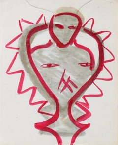 Modernist Abstracted Figure in Watercolor, Circa 1970s