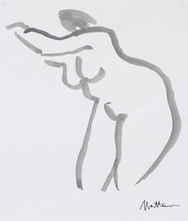 Modernist Nude Figure in Ink, 20th Century