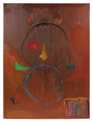 Large Abstract Oil Painting in Rust, 1971