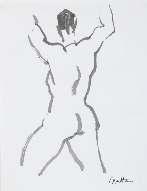 Figurative Line Drawing in Ink, 20th Century