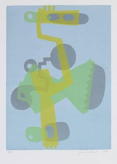 Abstracted Figure in Green and Blue, Serigraph, 1972