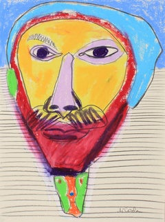 Bright Abstracted Portrait in Oil Pastel, Late 20th Century