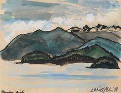 """Alexander Straits"" Alaskan Landscape in Watercolor, 1978"