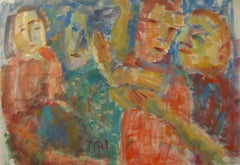 Expressionist Figures in Watercolor, Early 20th Century