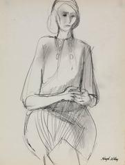 Drawing of a Seated Woman in Graphite, 1960