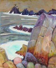 Carmel Seascape with Rocks in Oil, 20th Century