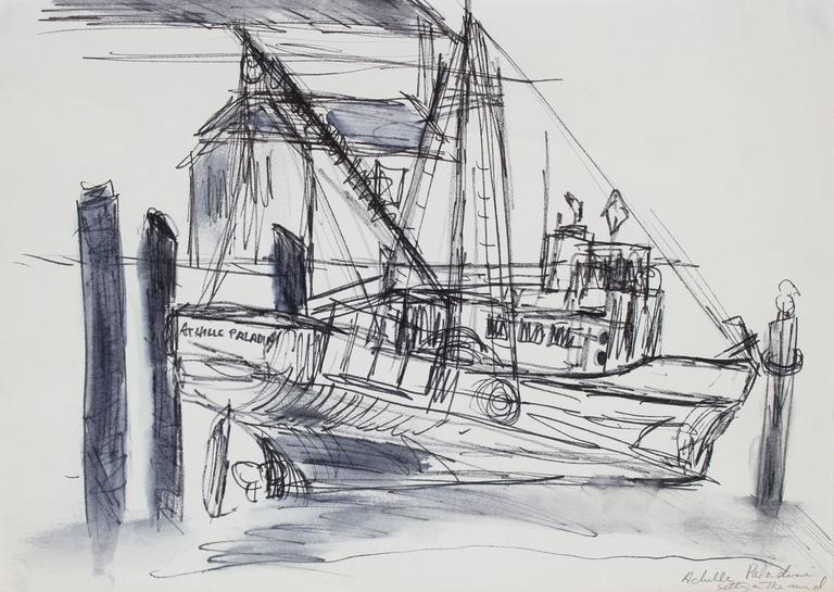 Monochromatic Ship in a Harbor, Ink on Paper Drawing