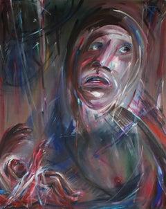 """Vietnam Madness"" Large Expressionist Oil Portrait, 1965"