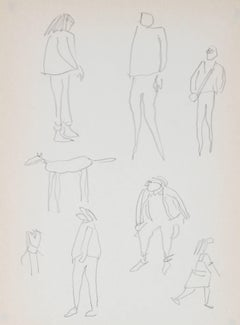 Figure Studies at the Park, Graphite Drawing, 1989