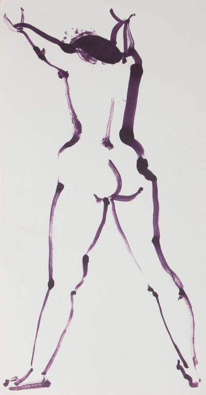 Modernist Nude in Purple Ink, 20th Century - Art by Rip Matteson