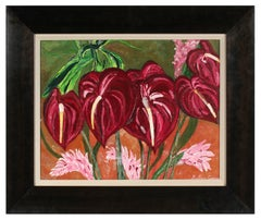 """Anthurium Aloha"" Hawaiian Tropical Still Life of Red Flowers in Gouache, 2017"