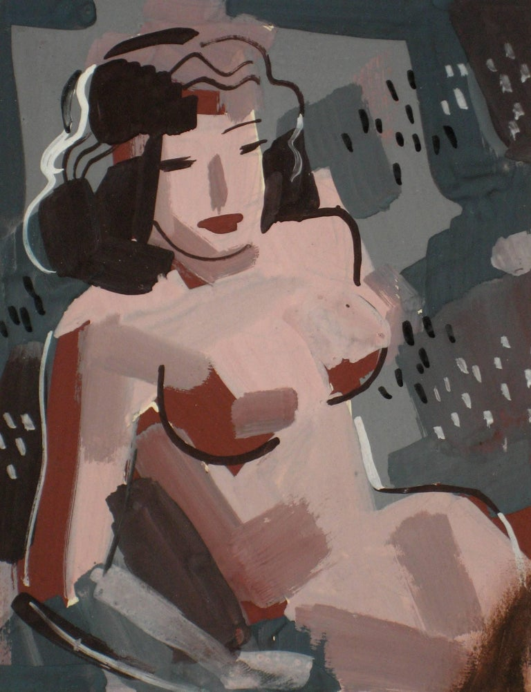 Female Nude in Gouache, Mid 20th Century Modern