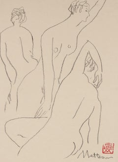 Three Modernist Figures in Charcoal, 20th Century