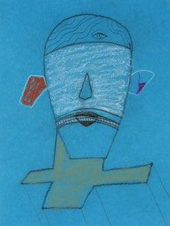 Surrealist Portrait on Blue, Pastel Drawing, 1996