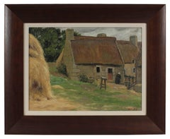 """Farm in Brittany"" European Countryside Landscape in Oil, 1903"