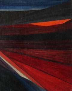 """""""Modern Landscape Concept I"""" Abstract in Red and Blue, Oil Painting, 1965"""