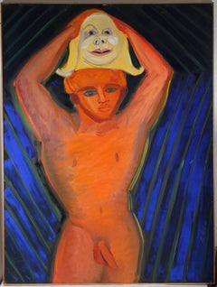 Male Nude with Mask, Oil on Canvas, 1966
