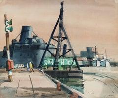 Industrial Harbor Scene in Watercolor, Mid-Century
