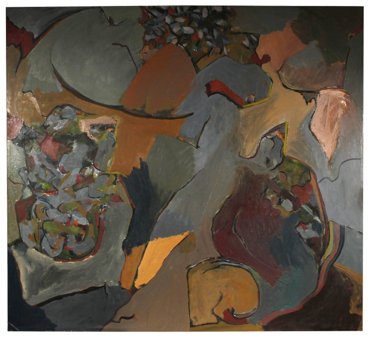 Large Abstract Expressionist Oil in Gray, 1966