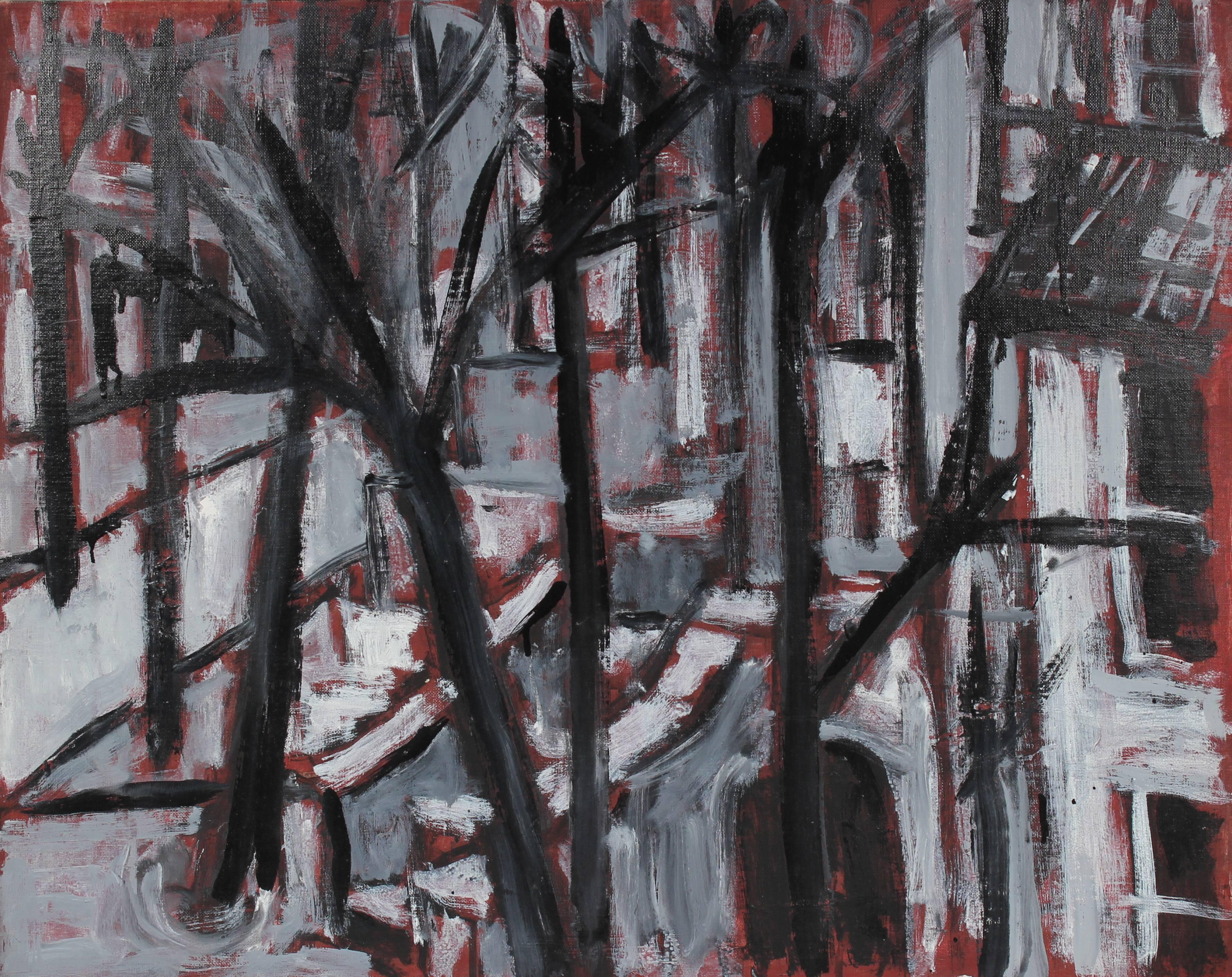"""""""West Side New York Cityscape"""" Grayscale Oil Painting, 1998"""