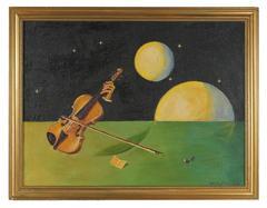 Surrealist Violin in Space