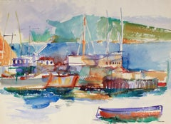 San Francisco Bay Harbor, Watercolor Seascape