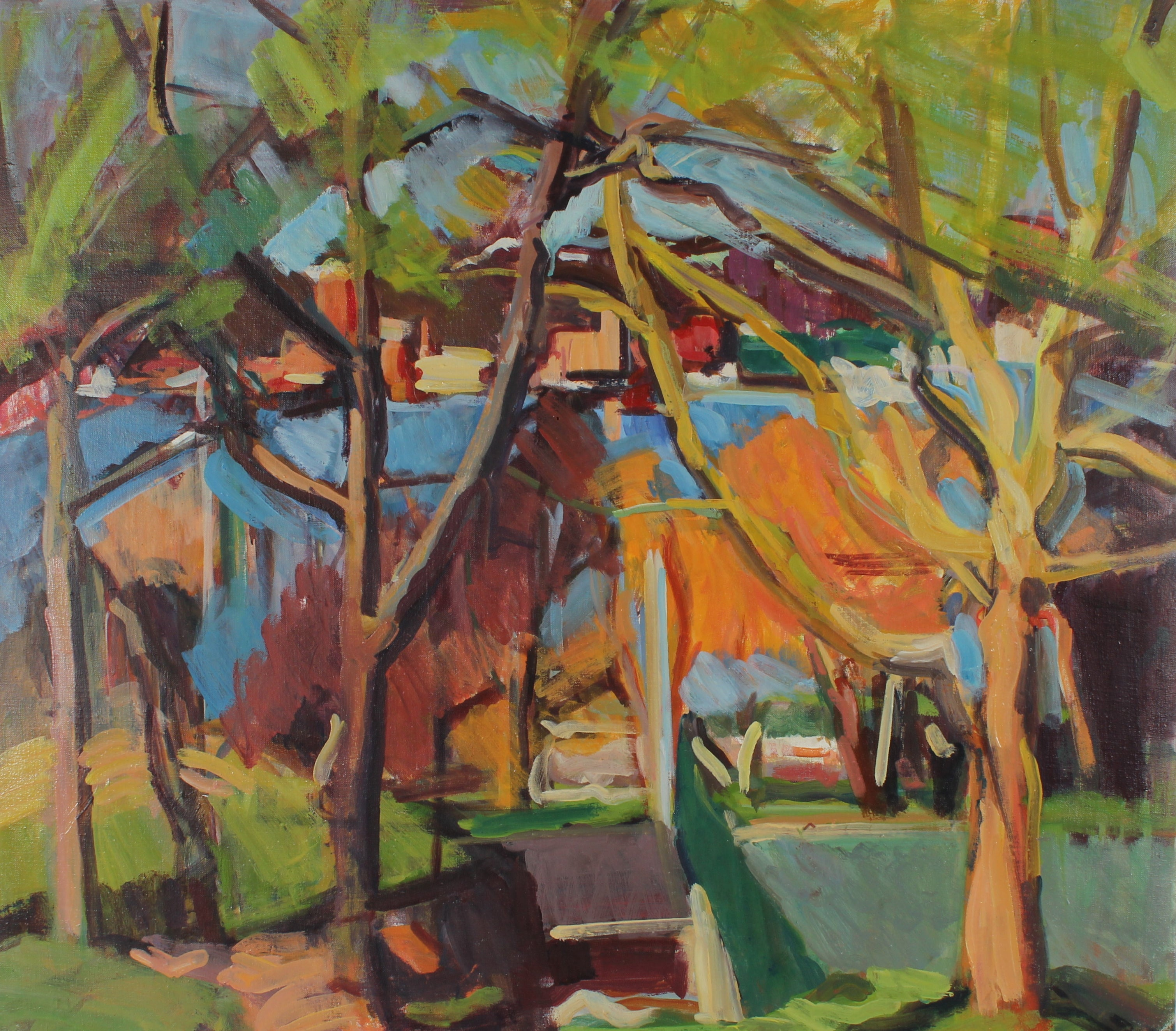 City Through the Trees, Oil Painting Landscape, 20th Century