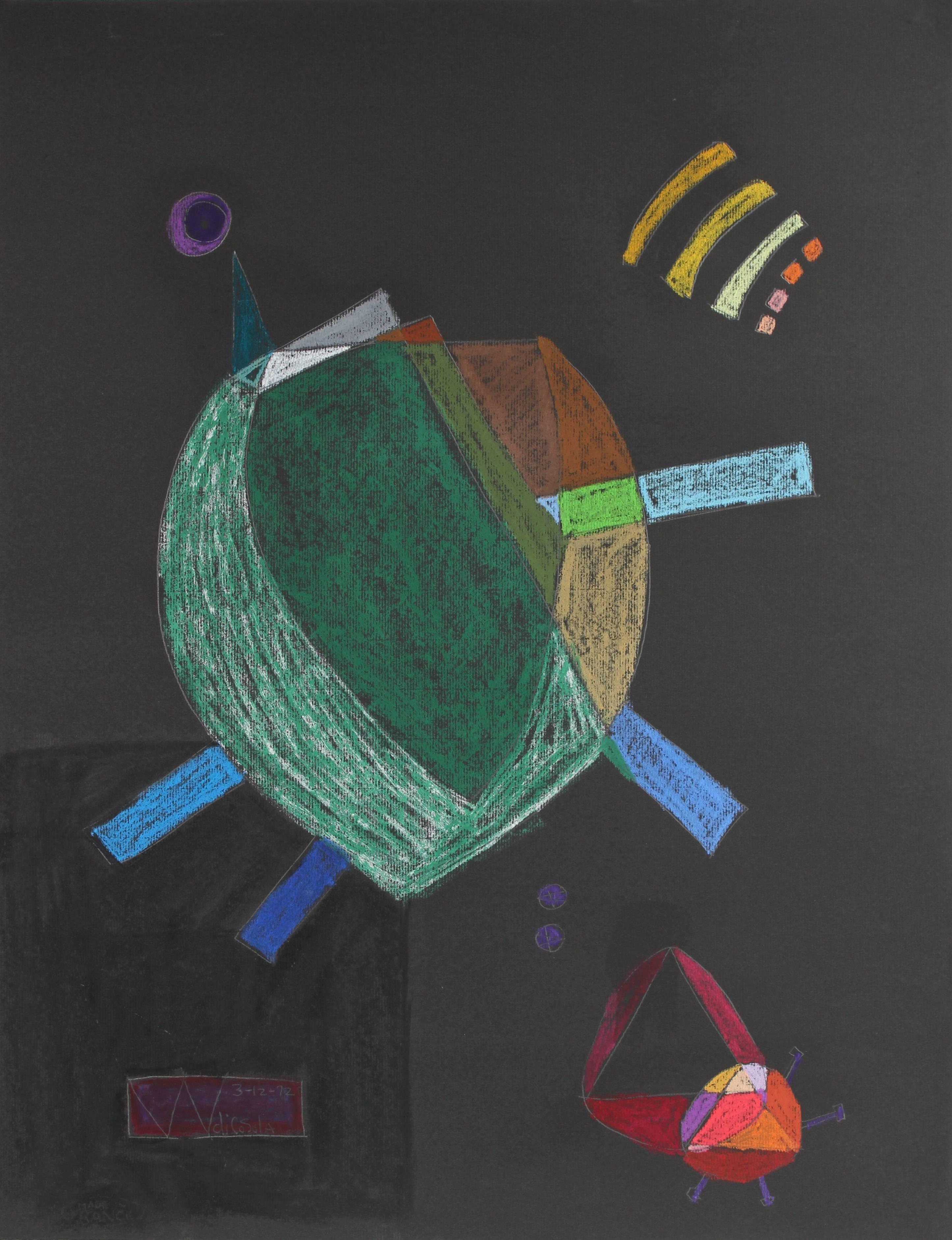 Surrealist Pastel Abstract on Black Paper, 1972