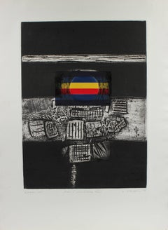 """Iconic Lanscape XXXIII"" Large Collograph Print, 1973"