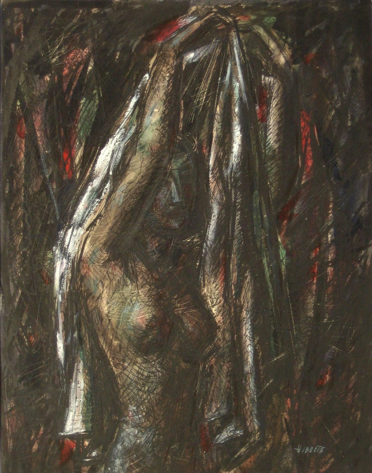 """Figure Holding Drapery"" Modernist Interior with Nude, 1952"