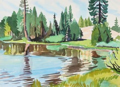 """""""The Sheltered Bay"""" California Watercolor Landscape, 1989"""