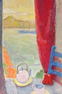 Coastal Still Life with Teapot, Gouache on Paper, 20th Century