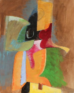 Modernist Abstract in Gouache, Mid Century