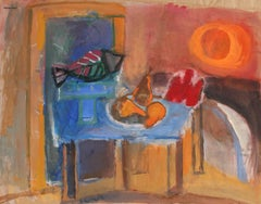 Still Life with Fish and Pears, Gouache Painting, Mid-Century