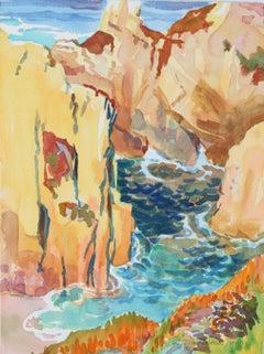 """Round the Cliffs"" Carmel Seascape Watercolor, 1987"