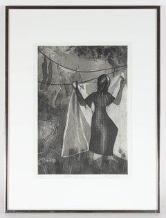 """Before Sunrise"", Monochromatic Modernist Etching, 1977"