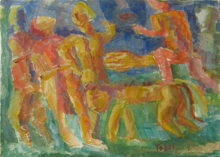 Expressionist Figures with a Lion, Watercolor on Paper, Mid 20th Century - Art by Jennings Tofel