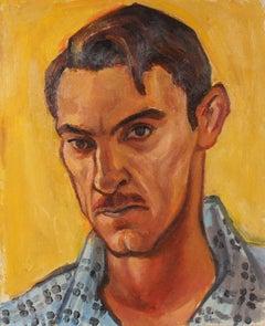 Self Portrait in Yellow, Oil on Canvas, Mid Century