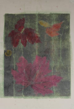Nature Print with Green Plants, Monoprint, 20th Century