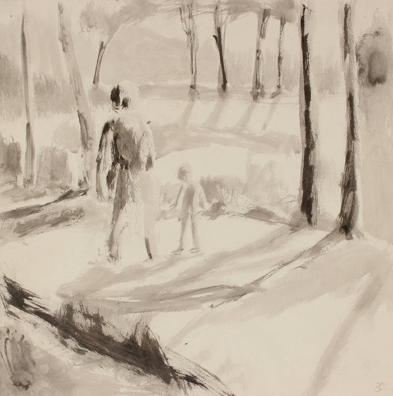 Monochromatic Figures in Landscape, Ink Drawing