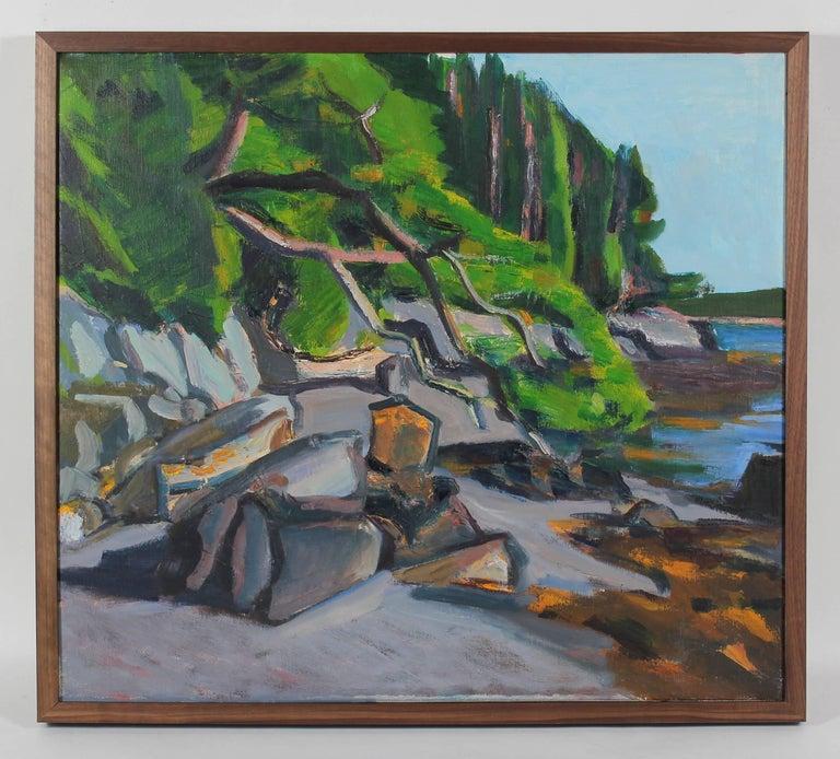 "Unknown Landscape Painting - ""Islesboro, Maine"" Coastal Landscape in Oil, 1988"