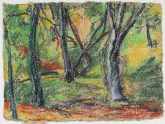 Forest Landscape in Pastel on Handmade Paper, Late 20th Century