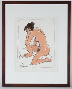 Modernist Nude Figure in Charcoal and Ink, 20th Century