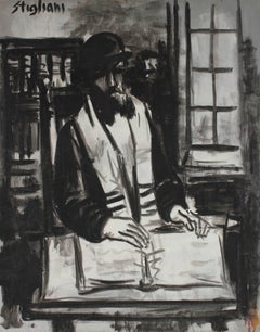 """The Rabbi"", Monochromatic Portrait in Oil"