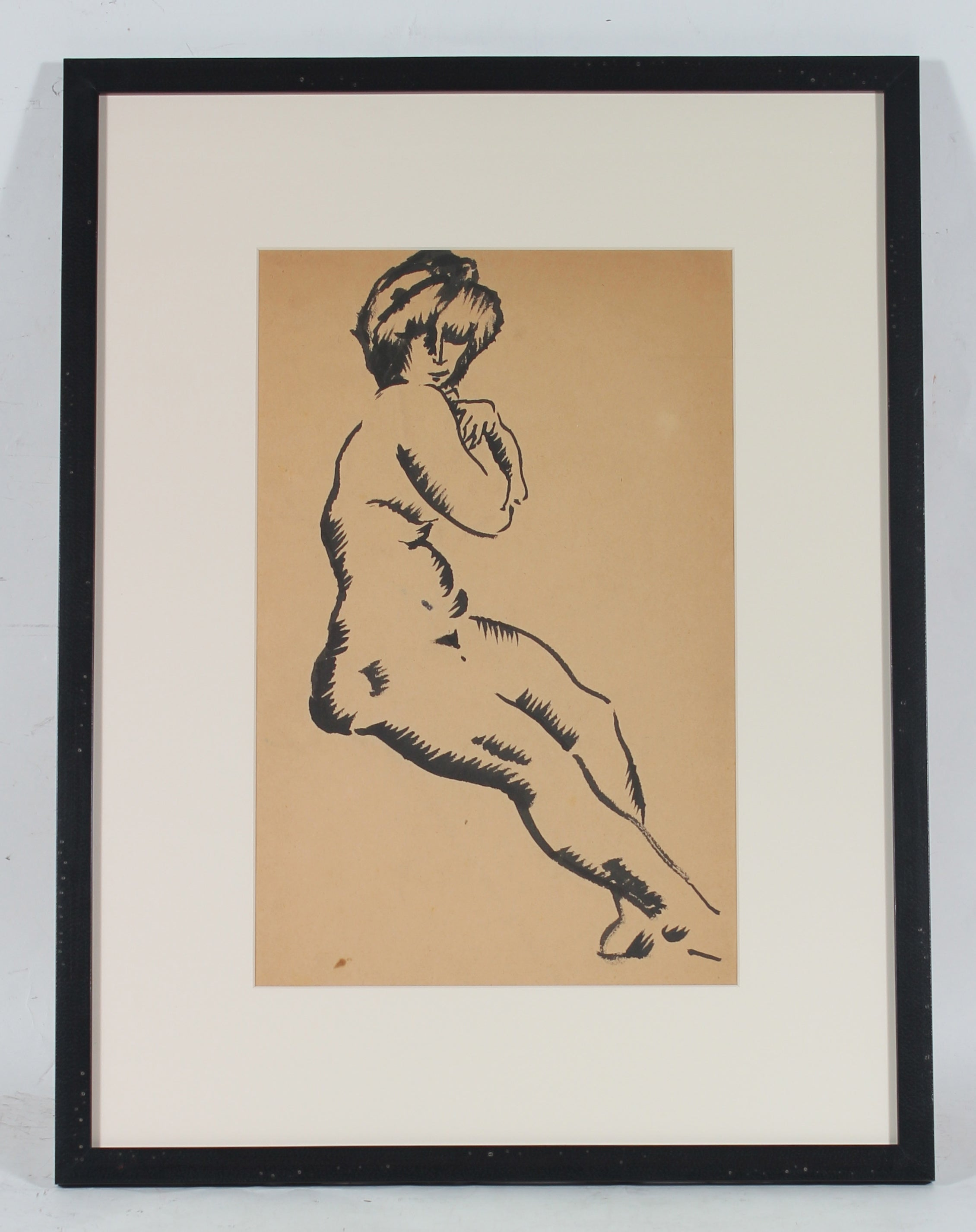 Vienna Secessionist Nude in Ink, Circa Early 20th Century