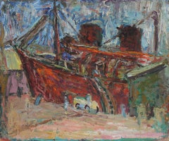 Expressionist Boat in Harbor