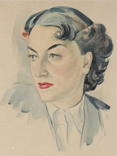 Portrait of a Woman with Red Lipstick, Watercolor Painting, Circa 1930