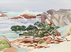 """Haze and Low Tide"" California Seascape Watercolor, 1989"