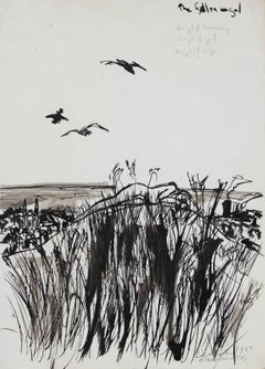 """The Fallen Angel"" Monochromatic Ink on Paper Landscape, 1967"